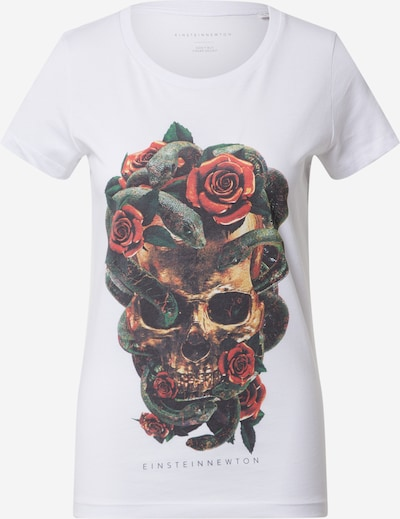 EINSTEIN & NEWTON Shirt in beige / dunkelgrün / rot / weiß, Produktansicht