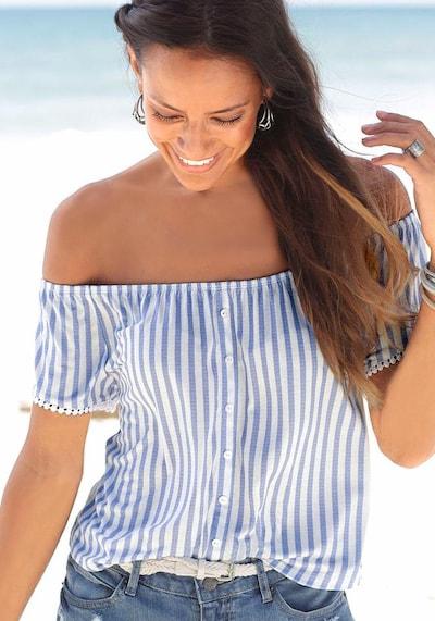 LASCANA Strandshirt in blau / weiß: Frontalansicht