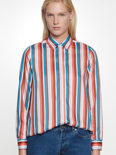 SEIDENSTICKER Bluse in petrol / rot / orangerot / weiß, Modelansicht