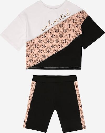 River Island Schlafanzug 'MONOGRAM' in beige / schwarz / weiß, Produktansicht