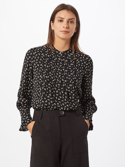 SELECTED FEMME Bluse in schwarz / offwhite, Modelansicht