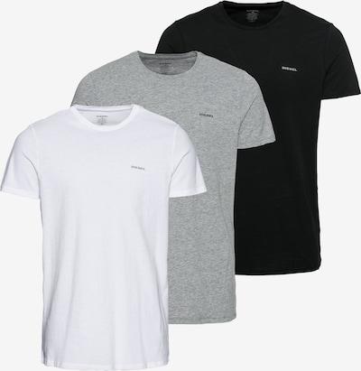 DIESEL T-Shirt in graumeliert / schwarz / weiß, Produktansicht