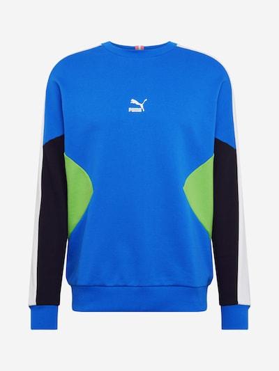 PUMA Sweatshirt in blau / neongrün / schwarz, Produktansicht