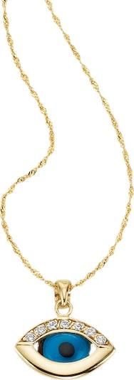 FIRETTI Halsschmuck: Halskette »Das Auge Gottes« in türkis / gold / schwarz, Produktansicht
