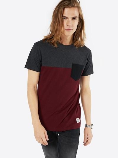 Iriedaily T-Shirt in dunkelgrau / weinrot: Frontalansicht