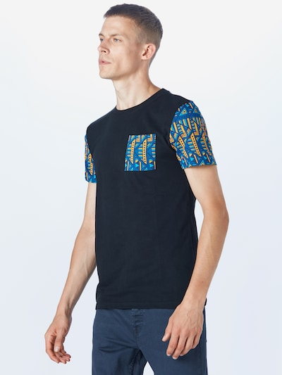 TOM TAILOR DENIM T-Shirt en bleu / jaune / noir: Vue de face
