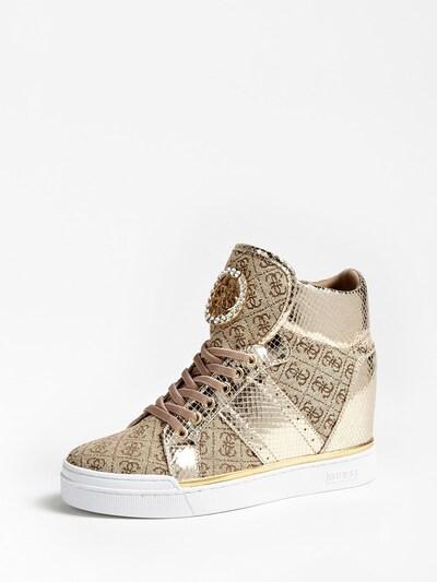 GUESS Sneaker in hellbraun / gold, Produktansicht
