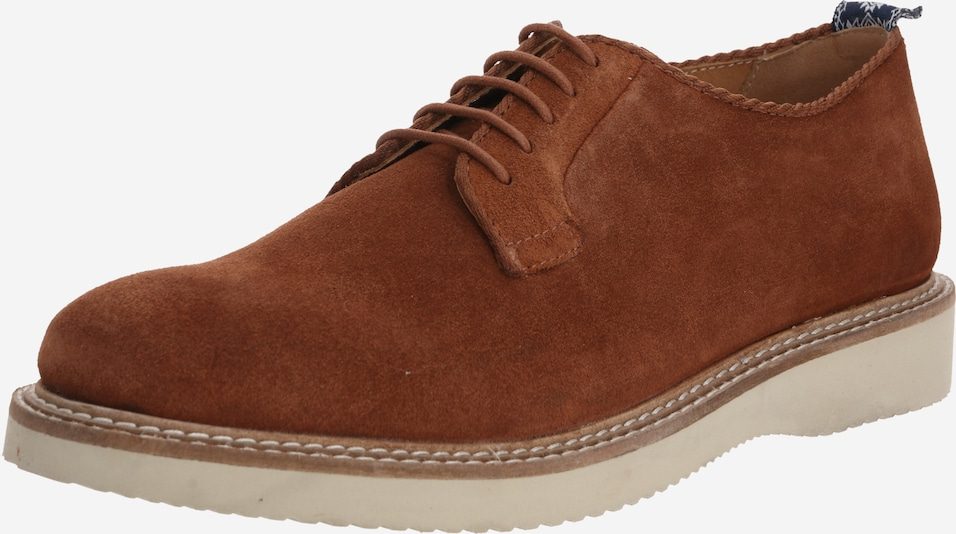 Hudson London Veterschoen 'Mardin Suede' in de kleur Cognac, Productweergave