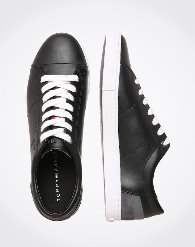 TOMMY HILFIGER Ledersneaker mit kontrastfarbenen Details
