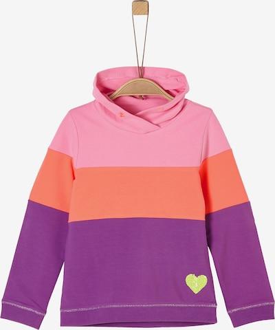 s.Oliver Sweatshirt in dunkellila / orange / pink, Produktansicht