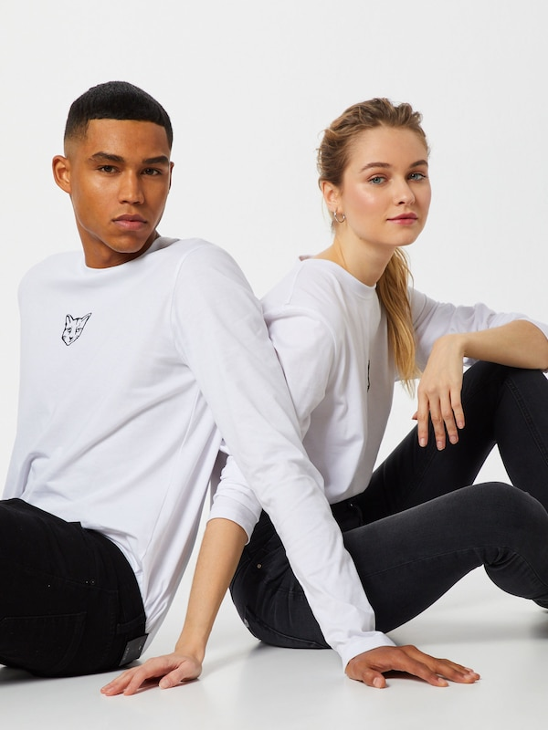 ABOUT YOU X PARI Shirt 'Pia' in weiß: Frontalansicht