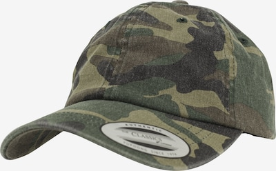 Flexfit Cap in khaki / oliv / dunkelgrün / schwarz: Frontalansicht