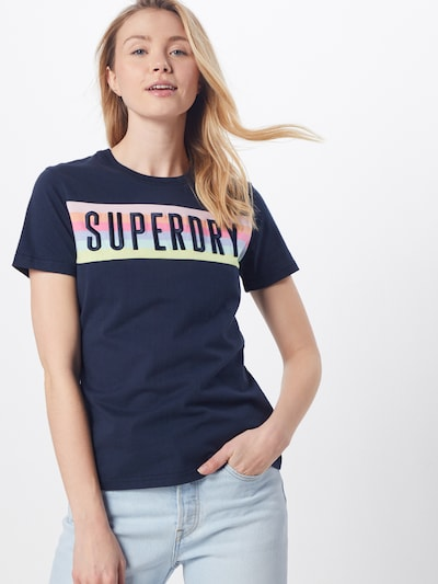 Superdry Tričko 'RAINBOW' - námořnická modř: Pohled zepředu