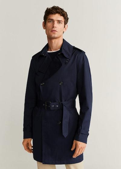 MANGO MAN Manteau mi-saison en bleu marine, Vue avec modèle