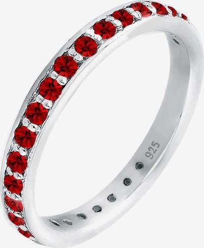 ELLI Ring Bandring 'Kristall' in dunkelrot / silber, Produktansicht