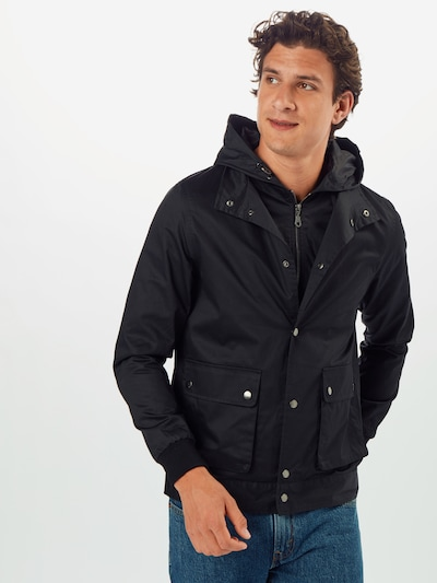 BURTON MENSWEAR LONDON Prechodná bunda 'BLK LIGHTWEIGHT HOODED JKT' - čierna: Pohľad spredu
