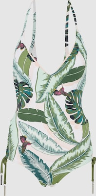 """Seafolly Badpak 'Deep """"V"""" Maillot' in Groen / Donkerrood / Parelwit"""