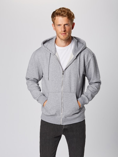 JACK & JONES Sweatjacke in hellgrau, Produktansicht