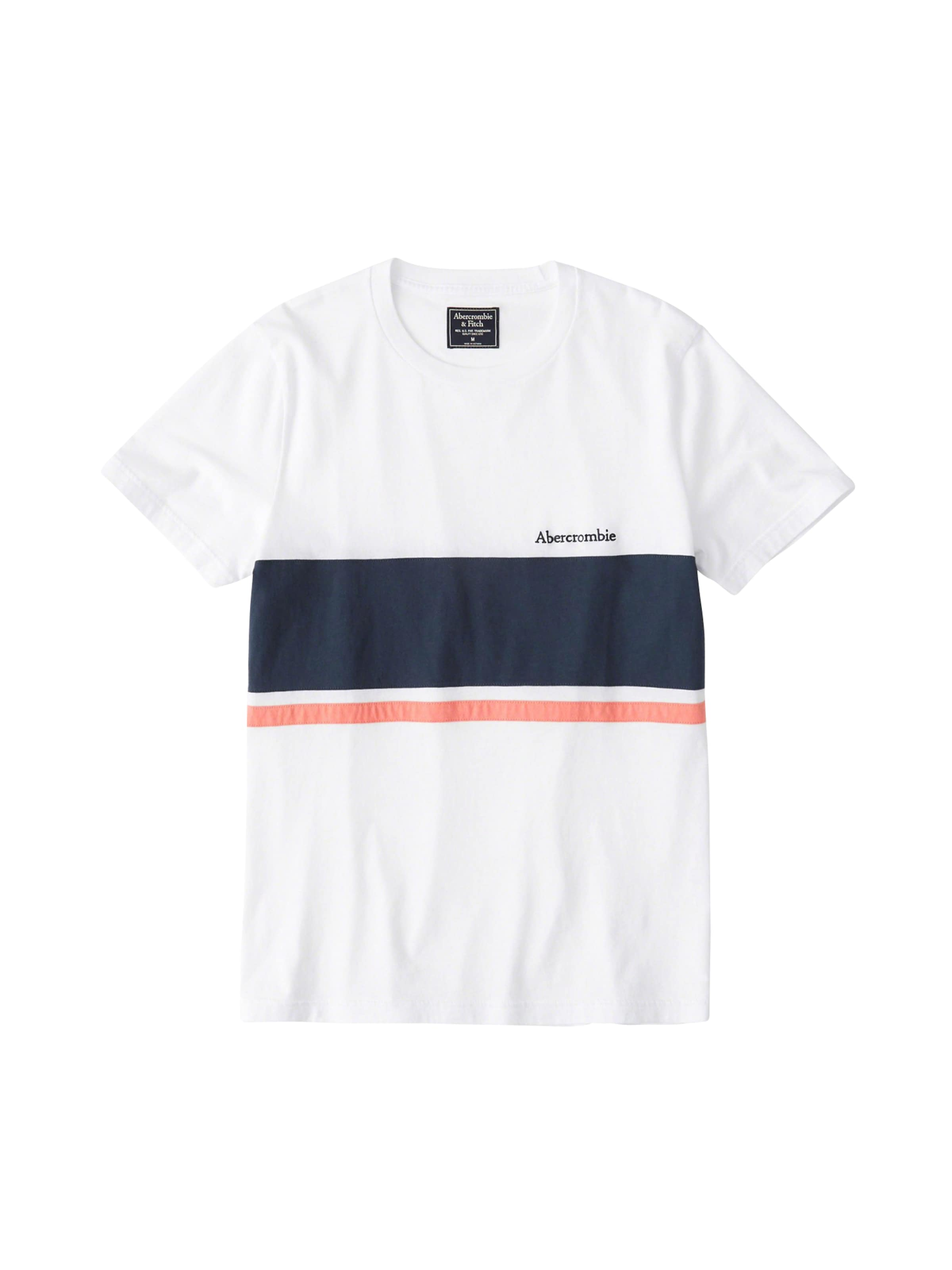 T 'chest Tee' Fitch En shirt Blanc Abercrombieamp; Stripe XP0ON8nwk