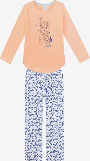 SANETTA Schlafanzug in rauchblau / royalblau / hellblau / pastellorange / weiß, Produktansicht