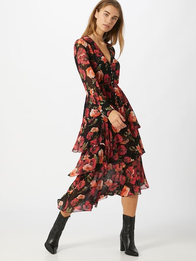 The Kooples Kleid 'Robe' in grün / orange / rot / schwarz, Modelansicht