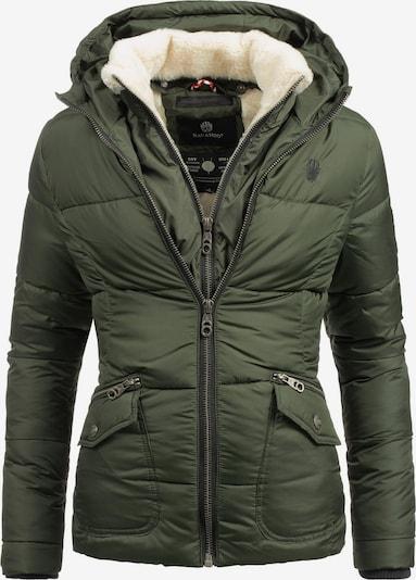 NAVAHOO Winterjas 'Megan' in de kleur Crème / Olijfgroen, Productweergave