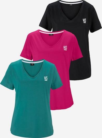 H.I.S T-Shirts in petrol / pink / schwarz, Produktansicht