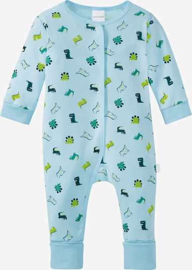 SCHIESSER Schlafanzug in türkis / hellblau / apfel, Produktansicht