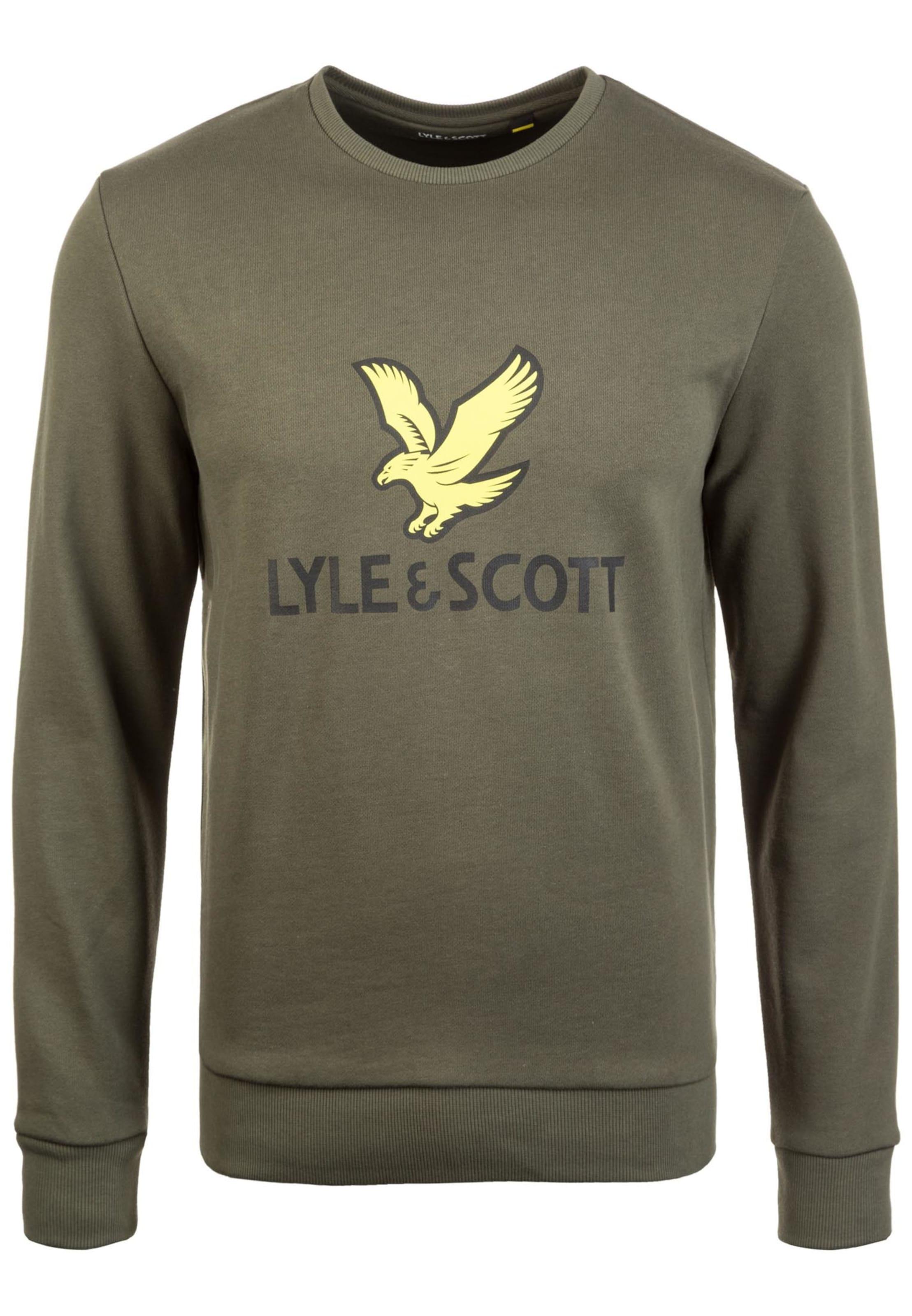Sweat shirt PastelKaki Lyleamp; Scott Noir En Jaune 45c3LqjAR