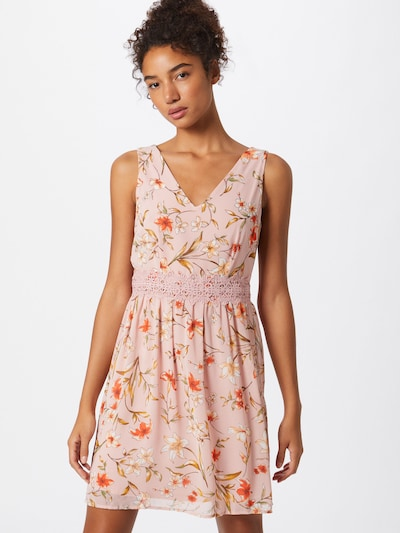 VILA Robe d'été 'VIMILINI' en olive / rose / rouge, Vue avec modèle