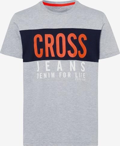 Cross Jeans T-Shirt in dunkelblau / grau / orange / weiß, Produktansicht