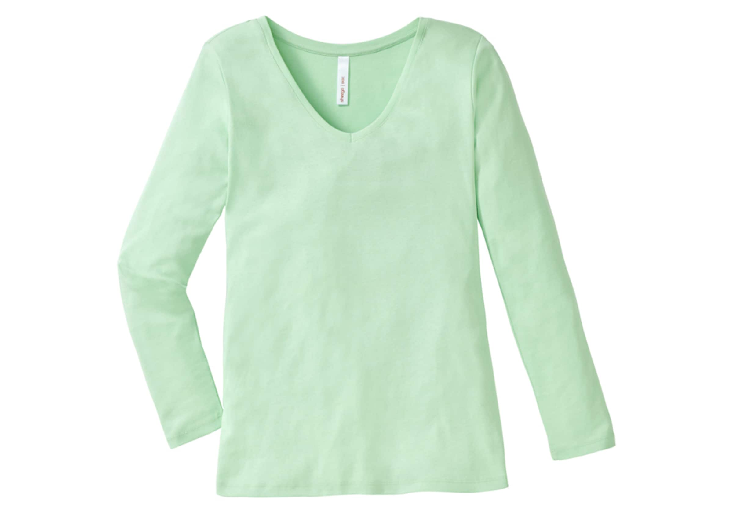 Basic ausschnitt Mint Long In V Sheego Shirt iwTlOkZPuX