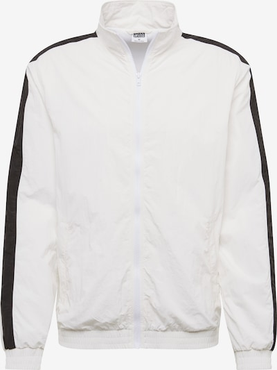 Urban Classics Tussenjas 'Striped Sleeve Crinkle Track Jacket' in de kleur Zwart / Wit, Productweergave