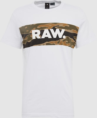 G-STAR RAW Shirt 'Tairi r t s/s' in Kaki / Zwart / Wit