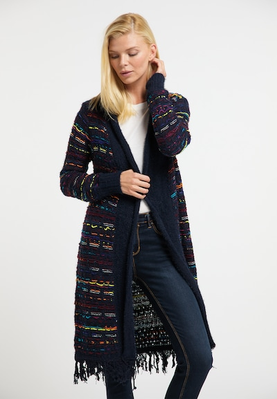 Usha Manteau en tricot en bleu cobalt / mélange de couleurs, Vue avec modèle