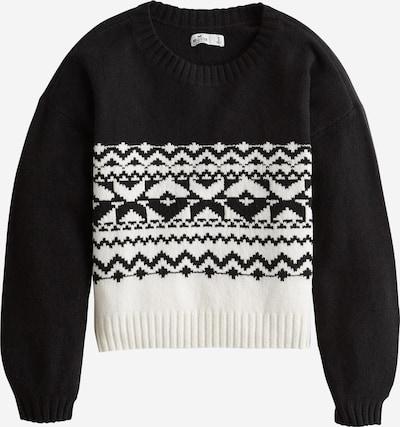 HOLLISTER Pullover 'XM19-FAIRISLE FABBA SWEATER 1CC' in schwarz / weiß, Produktansicht