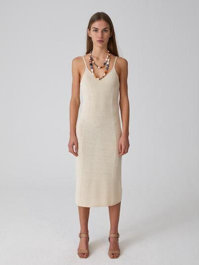 EDITED Kleid 'Nela' in beige / weiß, Modelansicht