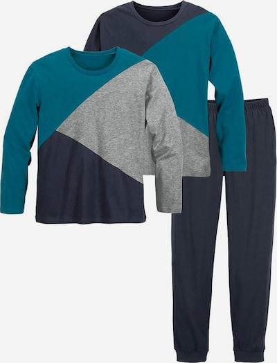 LE JOGGER Pyjamas für Jungs im Colourblock-Design in grau / petrol, Produktansicht