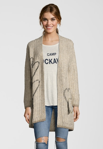 Grace Strickjacke 'HEARTS' in beige / schoko: Frontalansicht