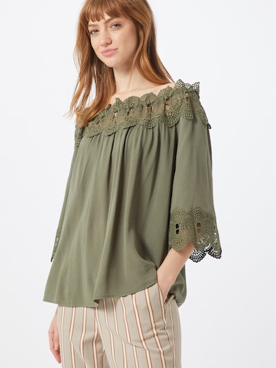 Cream Tunic 'Bea' in Green, View model