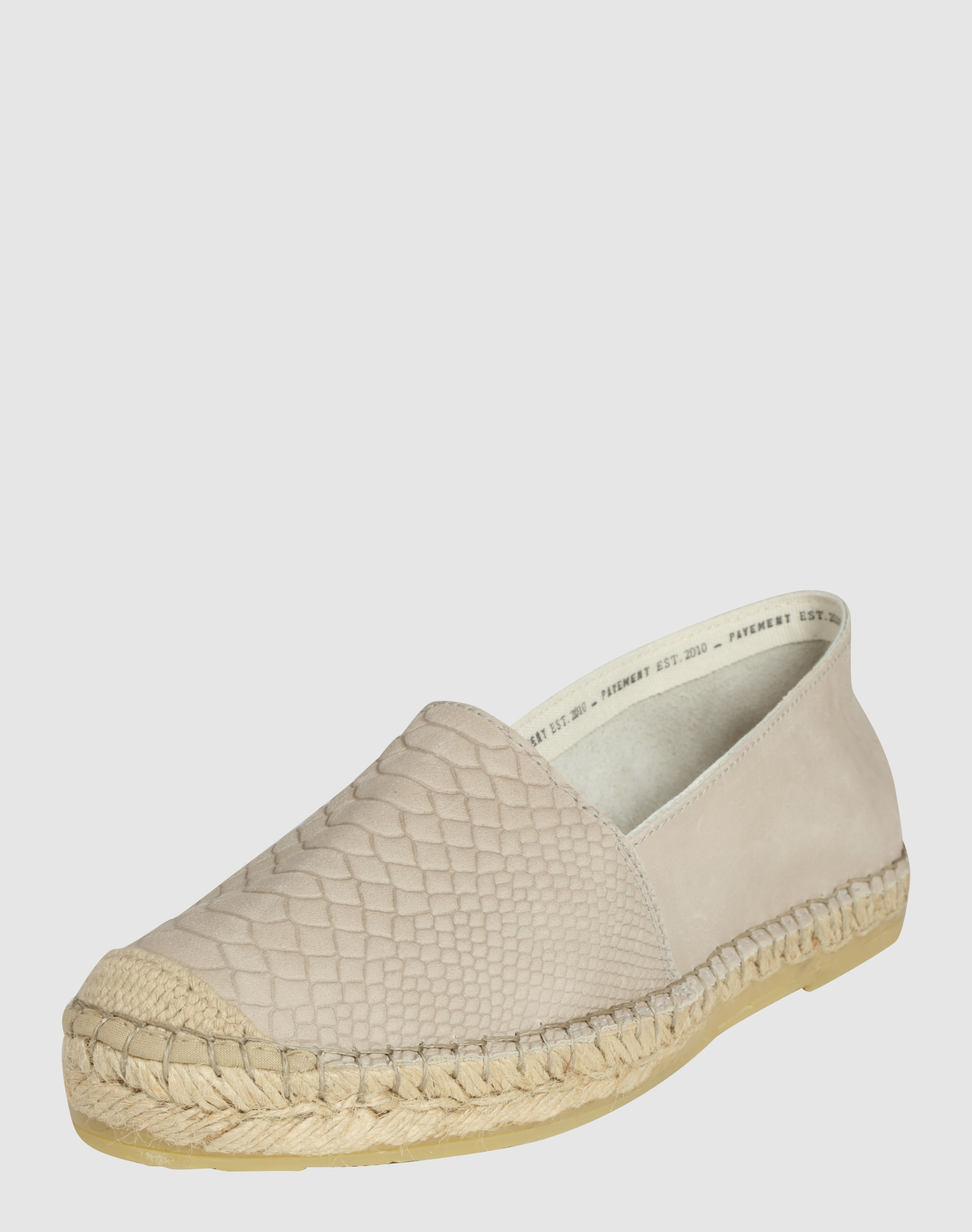 pavement leder espadrille mit snake pr gung 39 mia 39 in beige. Black Bedroom Furniture Sets. Home Design Ideas