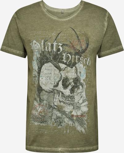 STOCKERPOINT T-krekls ar tradicionālo rakstu 'Bruno' pelēkbrūns / olīvzaļš / balts, Preces skats