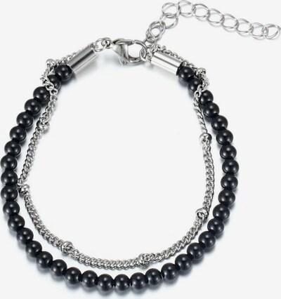 FIRETTI Fußkette mit schwarzen Steinen in grau / schwarz / silber, Produktansicht
