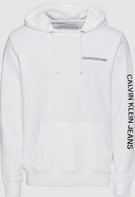Calvin Klein Jeans Sweatshirt 'INSTITUTIONAL CHEST LOGO REG HD' in Zwart / Wit