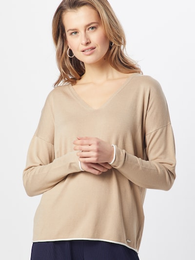 MORE & MORE Pullover 'With Contrast Active' in beige, Modelansicht