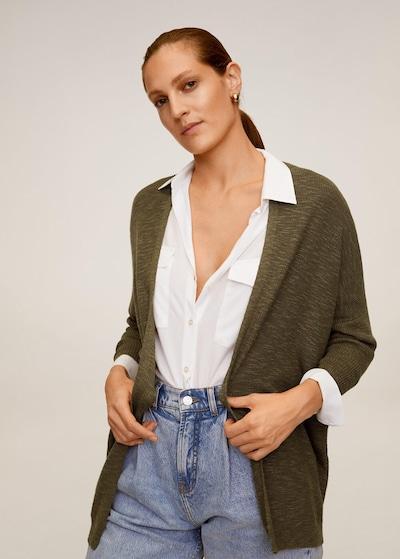 MANGO Strickjacke 'saeta' in khaki, Modelansicht