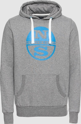 North Sails Sweatshirt 'HOODED SWEAT W/GRAPHIC' in Royal blue/koningsblauw / Grijs gemêleerd