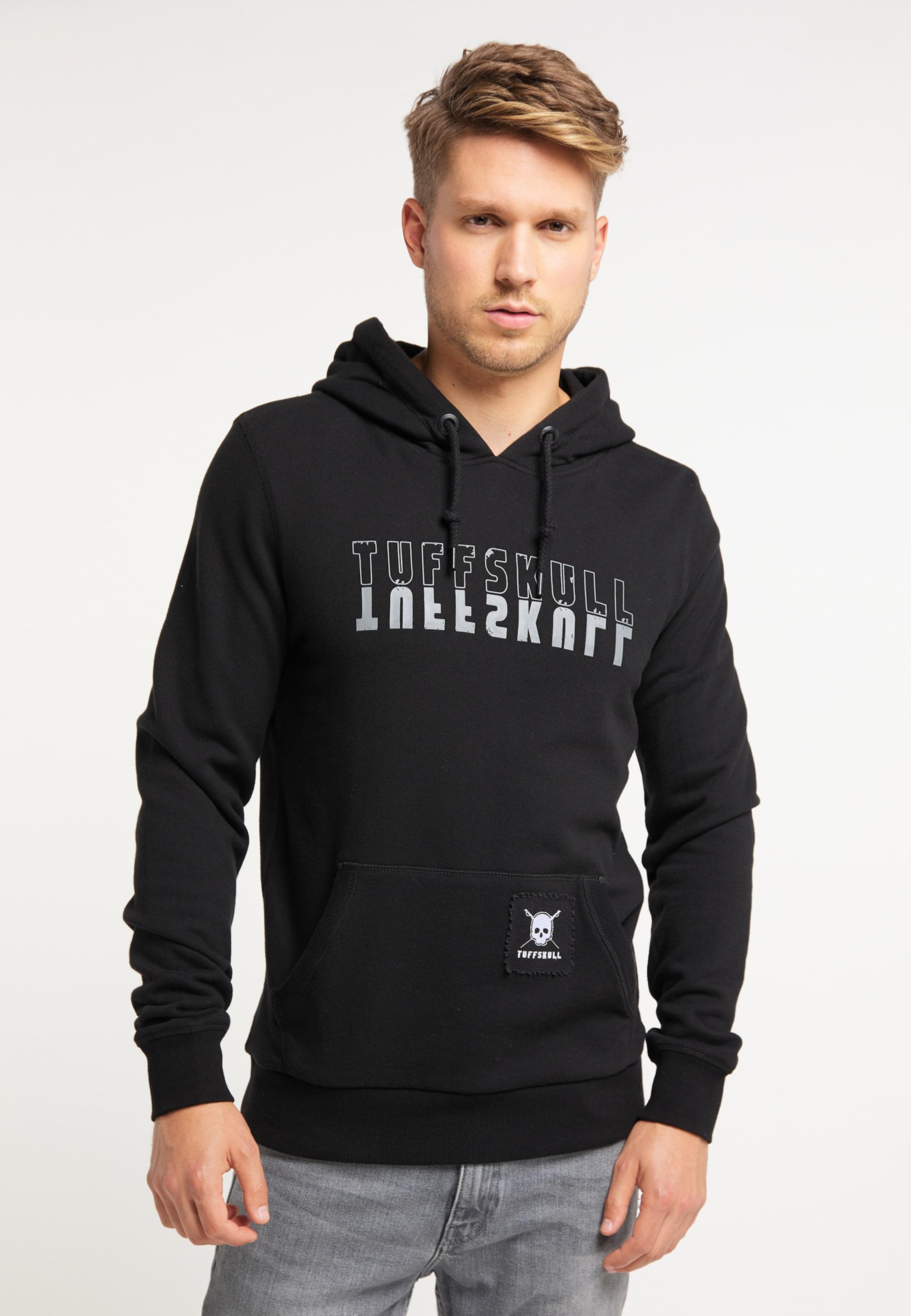 TUFFSKULL Kapuzenpullover in schwarz / weiß Elastischer Bund/Saum 4059275431763