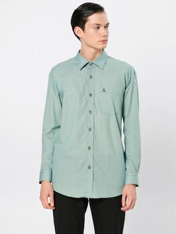 zaļš COUNTRY LINE Krekls ar tradicionālo rakstu