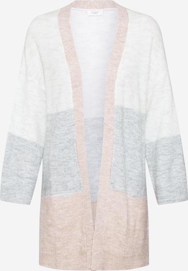 JACQUELINE de YONG Gebreid vest 'JDYTEA' in de kleur Lichtbeige / Grijs / Wolwit, Productweergave